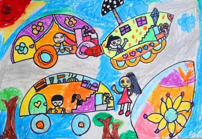 用颜料,用想像力 展现一个五彩斑斓的未来世界吧 老师讲解一下,绘画图片